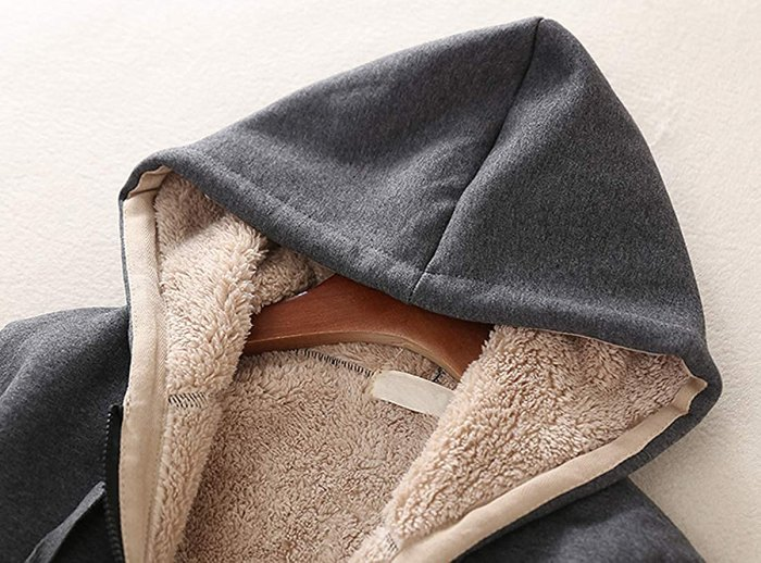 amazon-sherpa-sudadera con capucha-gris