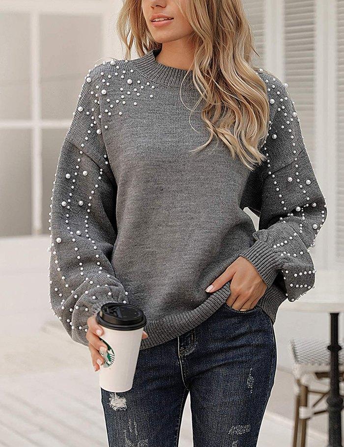 Suéter tipo jersey de gran tamaño con mangas de linterna de gelatina Blooming con perlas