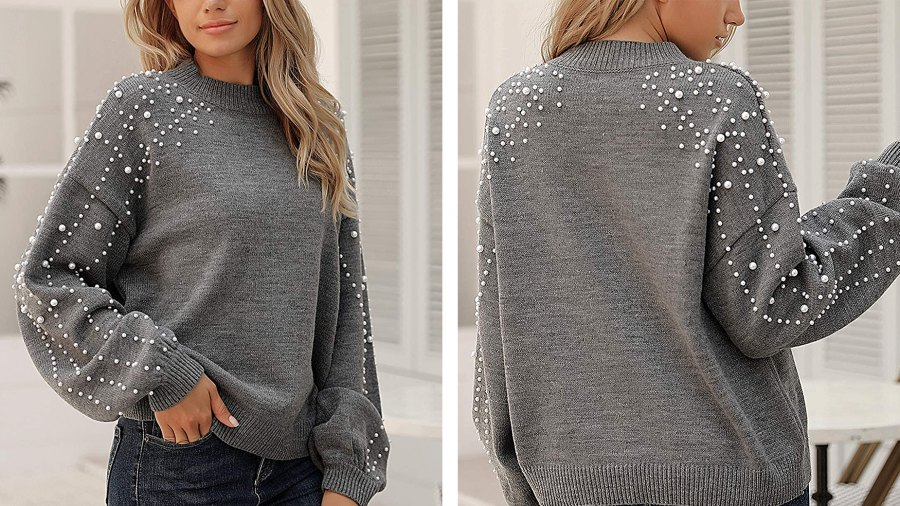 Blooming Jelly Lantern Sleeve Oversized Pullover Sweater with Pearls