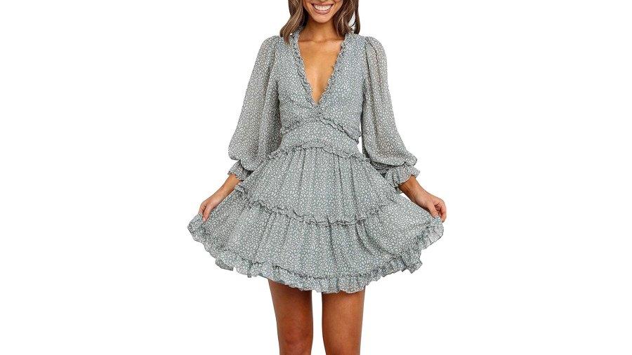 Happy Sailed Ruffle Layer Backless Swing Mini Dress