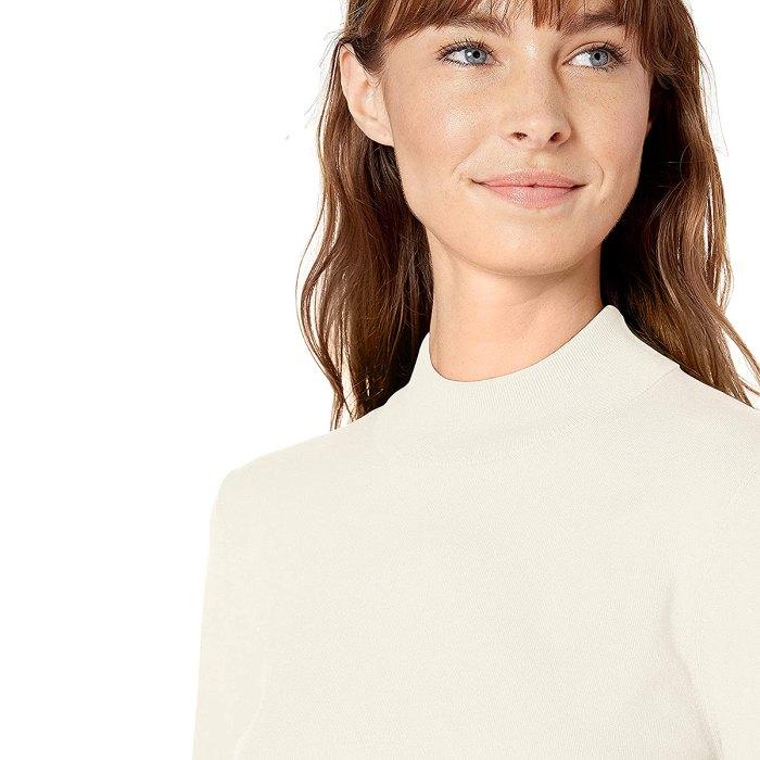 Suéter sintético con cuello simulado de manos cálidas de Lark & Ro
