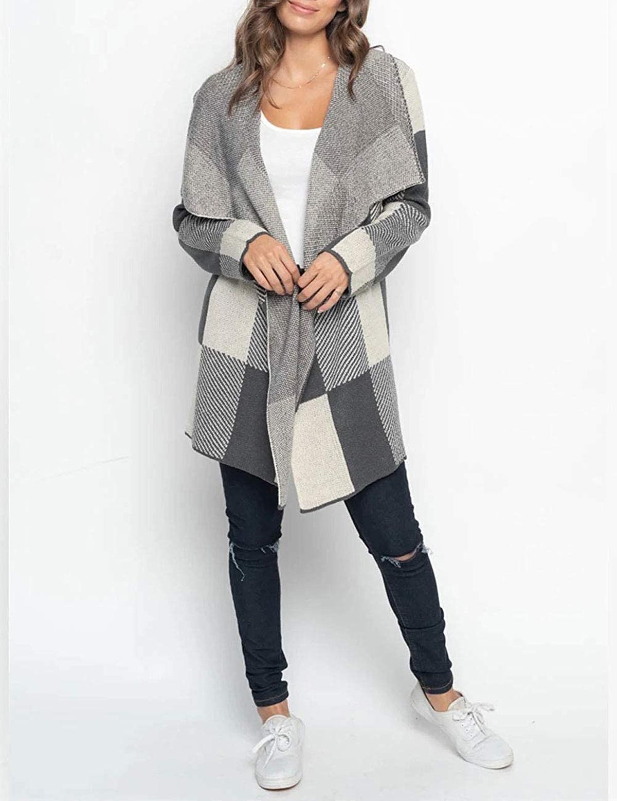 MEROKEETY Plaid Long Sleeve Drape Knit Cardigan