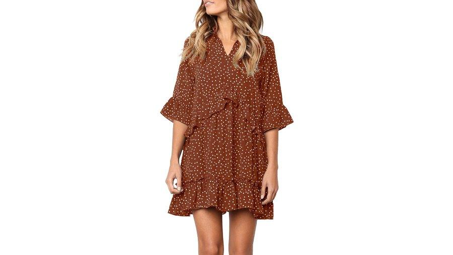 MITILLY V-Neck Ruffle Polka Dot Dress