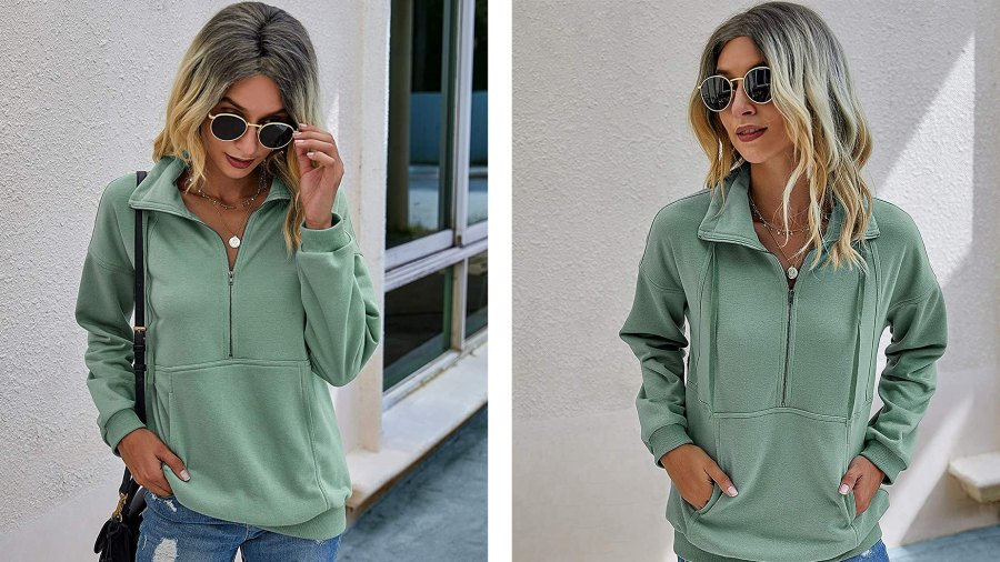 PRETTYGARDEN Lapel Zipper Sweatshirt