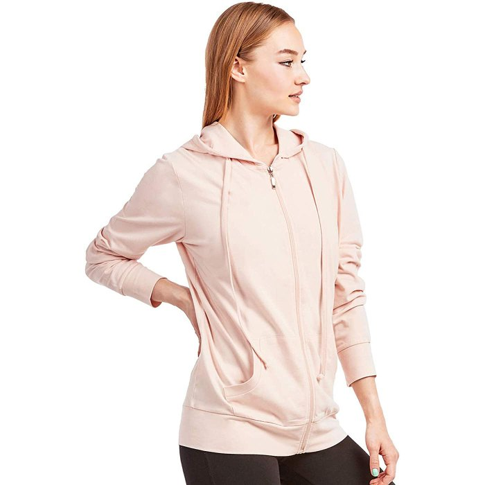 Sofra Thin Cotton Zip-Up Hoodie Jacket