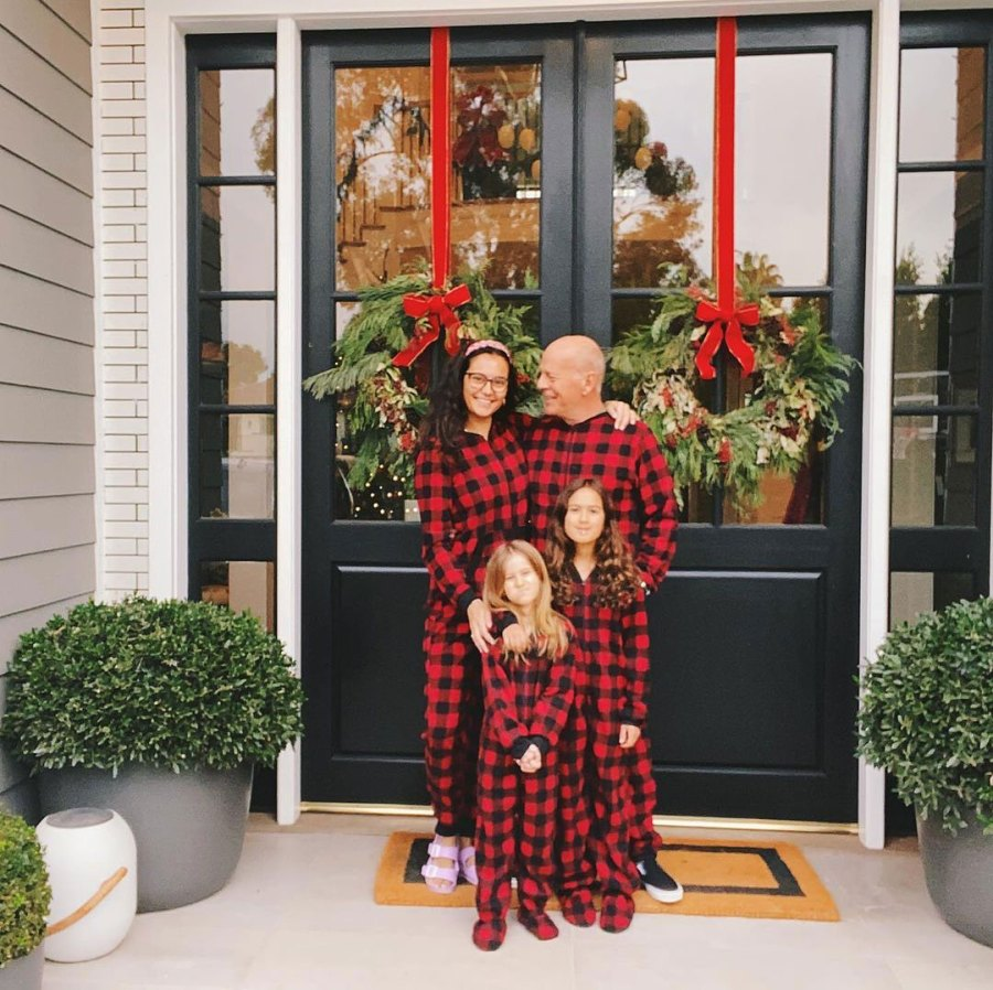 Bruce Willis Emma Heming Willis Mabel and Evelyn Celeb Parents Wear Matching PJs With Kids
