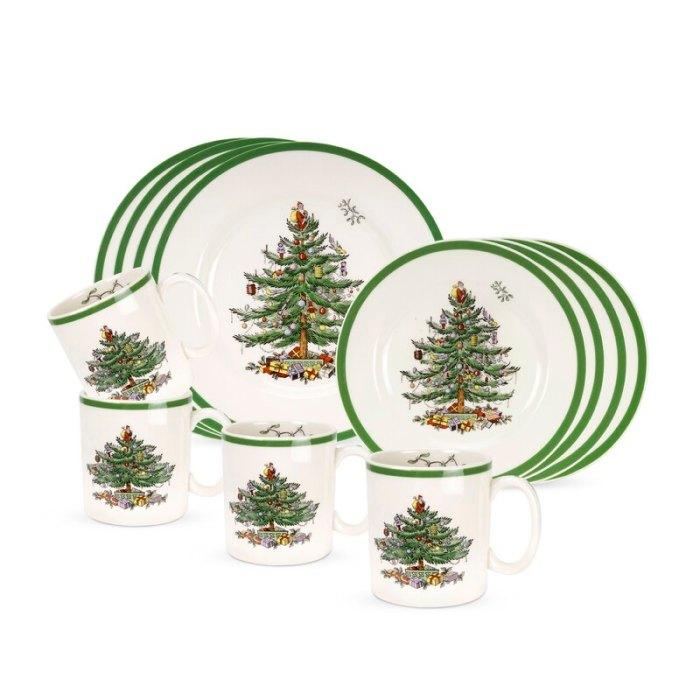Juego de vajilla Spode Christmas Tree, 12 piezas, servicio para 4