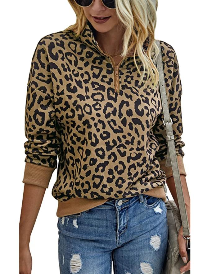 ECOWISH Sudadera ligera con cremallera de leopardo para mujer