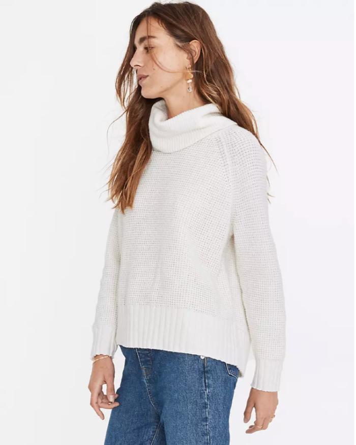 Suéter con cuello alto y espalda cruzada de Eastbrook en hilo de algodón y merino