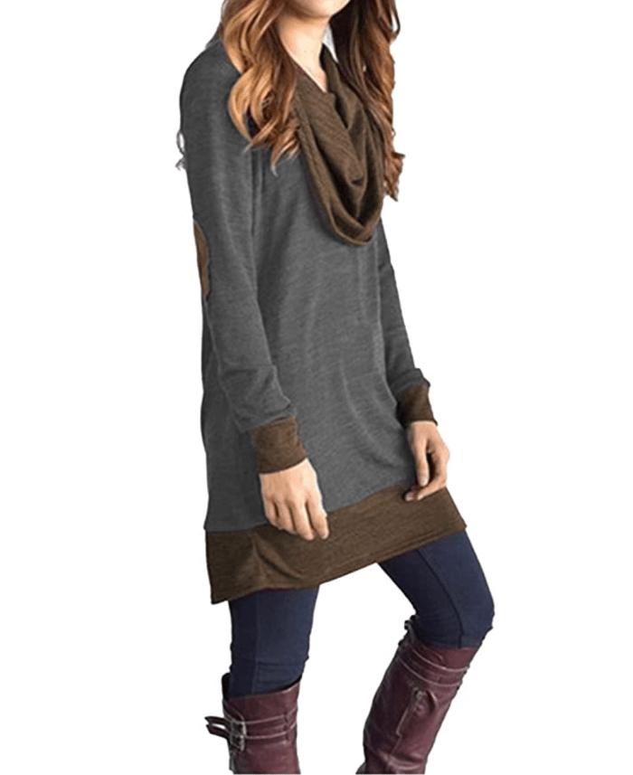Famulily Blusa tipo túnica de dos tonos con cuello vuelto para mujer