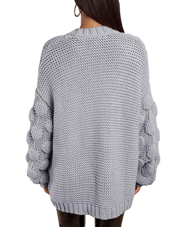 Ferbia Suéter de punto con parte delantera abierta con pompones largos y gruesos de gran tamaño para mujer