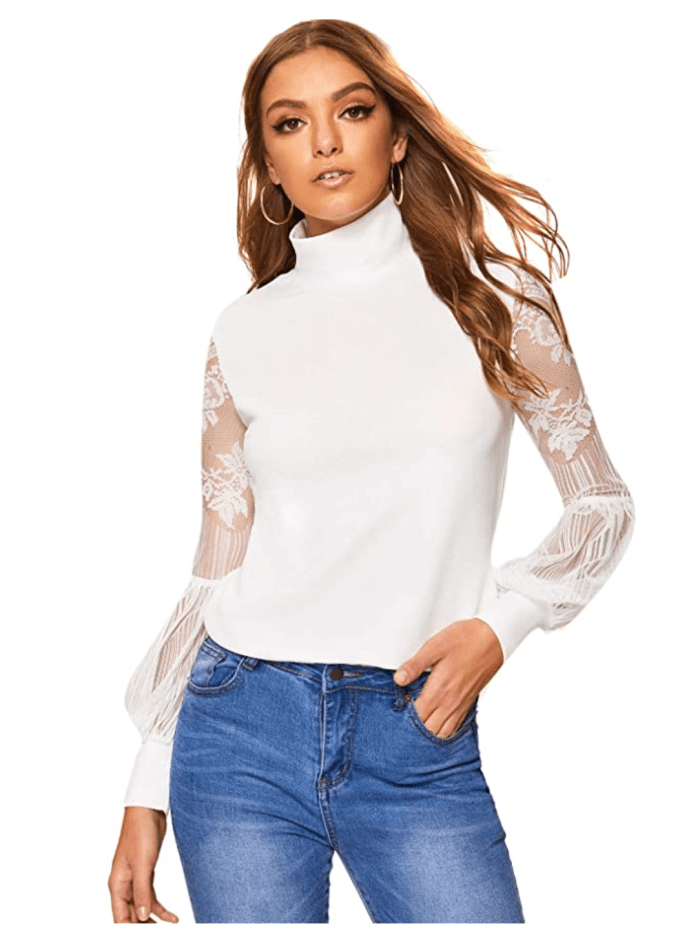 Floerns Women's High Neck Lace Lantern Long Sleeve Top