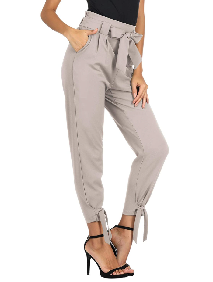 GRACE KARIN Pantalones de tubo de cintura alta casuales para mujer