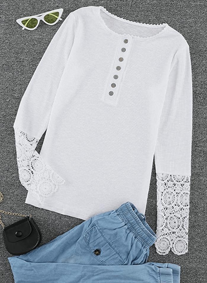 HOTAPEI Tops túnica de manga larga con cuello en V para mujer
