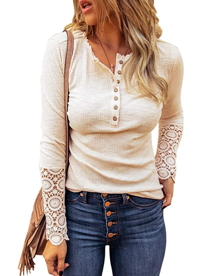 HOTAPEI Blusas tipo túnica de manga larga con cuello en V para mujer