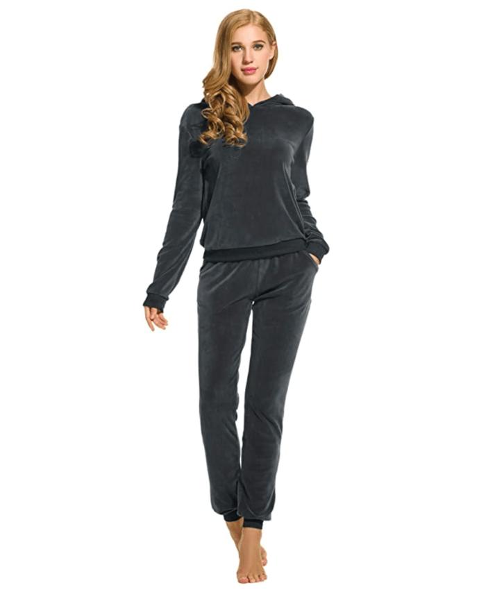 HOTOUCH Sudadera con capucha y pantalón de manga larga de terciopelo para mujer