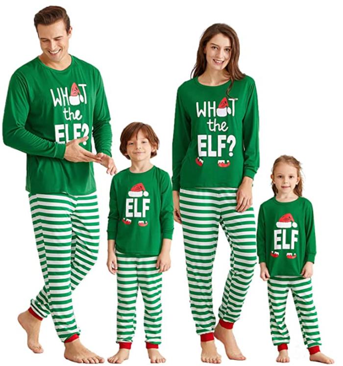 Conjunto de pijamas navideños familiares a juego de IFFEI, camiseta ELF y pijama con parte inferior a rayas