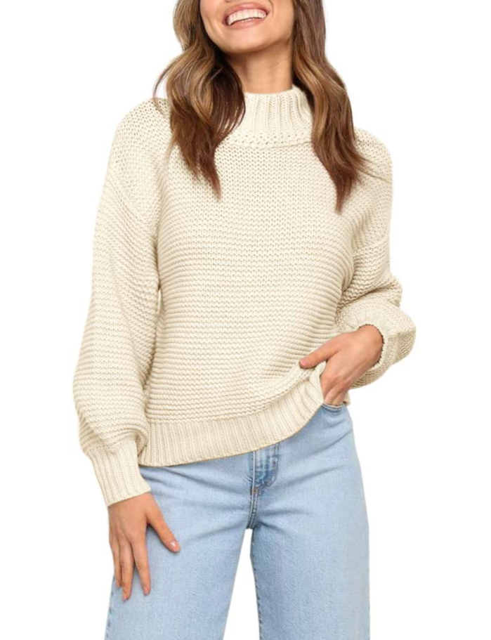 Imily Bela Women's Knit Slouchy Chunky Lantern Sleeve Pullover Jumper