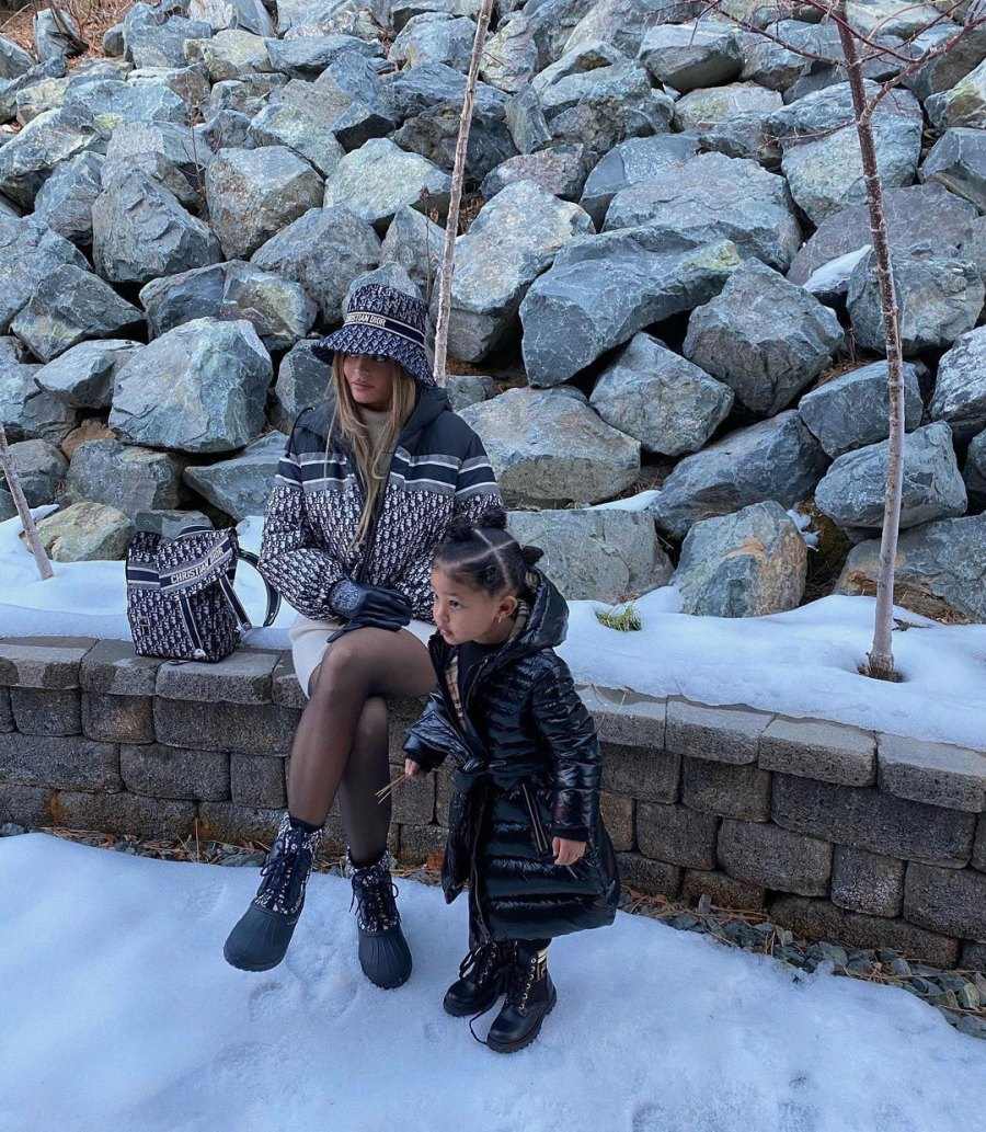 Kylie Jenner Celebrity Kids Playing in Snow