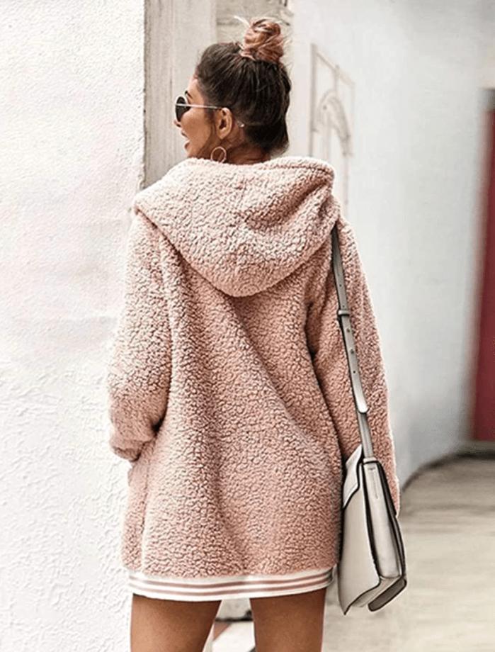 LOMON Chaqueta extragrande de forro polar con capucha y manga larga con frente abierto y capucha