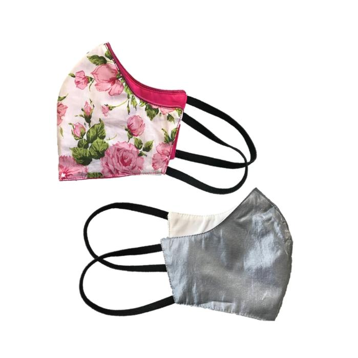 Salud Lainiere |  Mascarilla de moda de algodón Clematis y Camellia (paquete de 2)