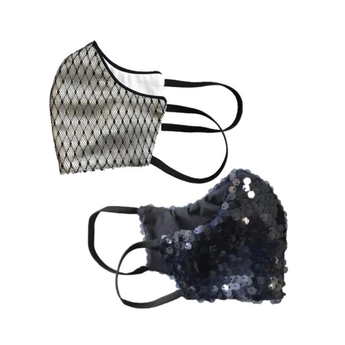 Salud Lainiere |  Mascarilla de moda de algodón con flores de magnolia y luna (paquete de 2)