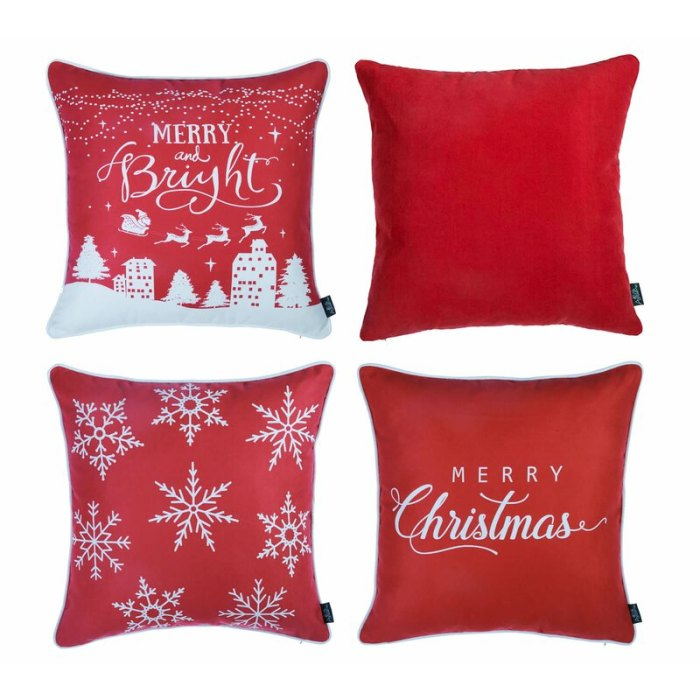 The Holiday Aisle Lomonaco Merry Christmas Square Pillow Cover Juego de 4