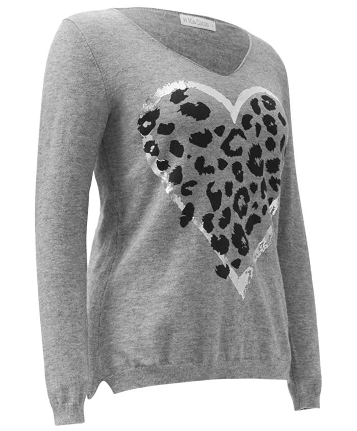 Miss Cocoa Jeans Suéter con estampado de leopardo y corazón para mujer
