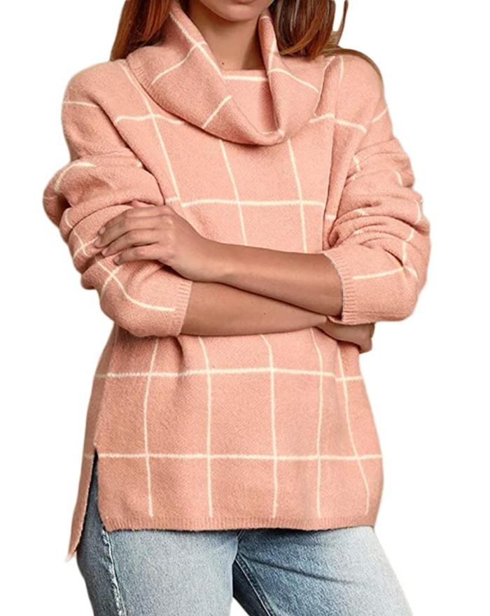 Suéter de punto de cuello alto para mujer Naggoo