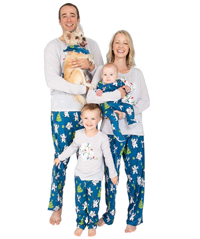 Nite Nite Munki Munki Family Matching Winter Holiday Pijama Collection, osos polares