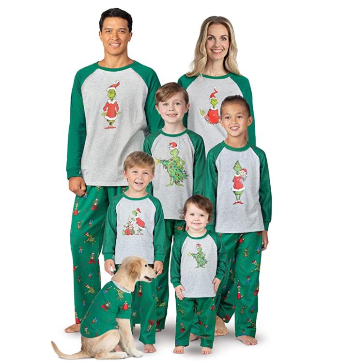 PajamaGram Holiday Grinch Family Christmas Pijamas Set
