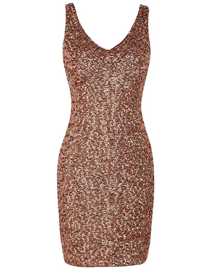 PrettyGuide Mini vestido de fiesta elástico con lentejuelas y lentejuelas con cuello en V profundo sexy para mujer