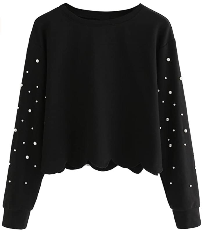 Romwe Women's Casual Long Sleeve Scalloped Hem Crop Tops Sweatshirt