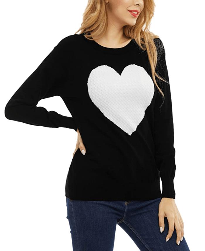 SATINIOR Suéter de punto de patchwork de manga larga con cuello redondo informal con gráfico de corazón de amor para mujer