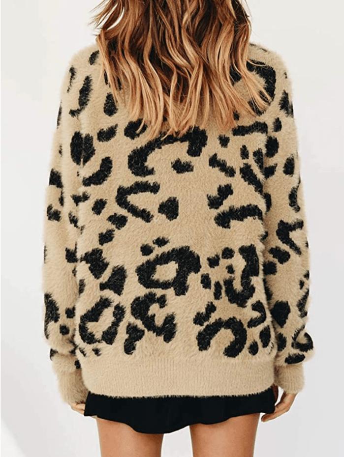 Saodimallsu Suéter de sherpa extragrande con cuello redondo y leopardo para mujer
