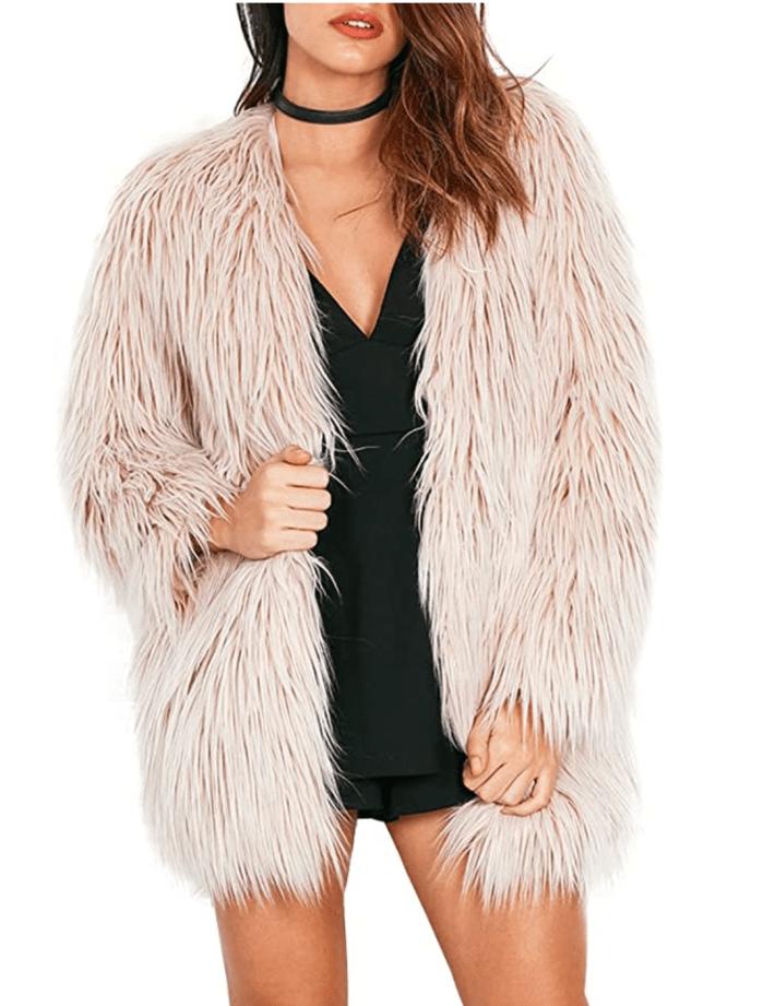 Simplee Apparel Abrigo cálido de piel sintética mullida de manga larga para mujer