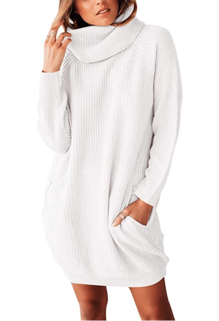 Sovoyontee Vestido estilo suéter holgado de manga larga con cuello alto y cuello alto para mujer