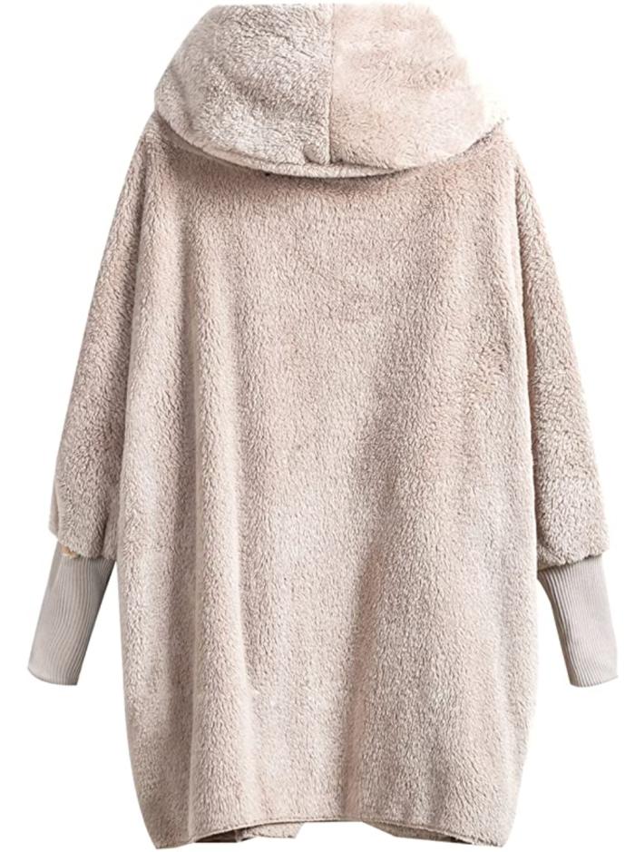 SweatyRocks Women's Hooded Dolman Sleeve Faux Fur Cardigan Coat
