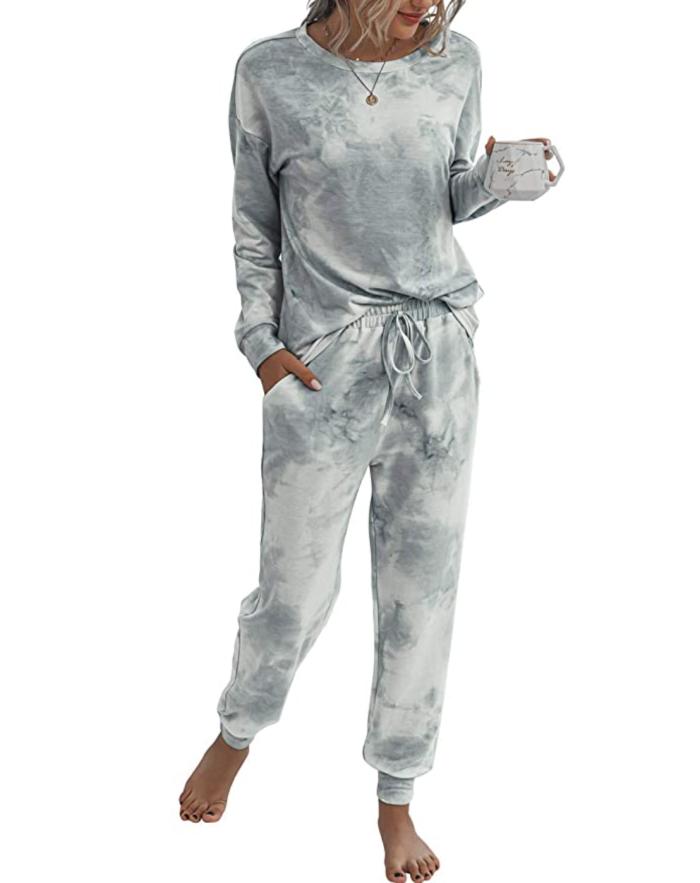 TSMNZMU Conjunto de pijama de ropa de dormir informal de 2 piezas con efecto tie dye para mujer
