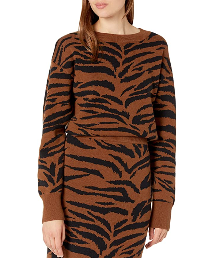 The Drop Women's Ingrid Long Sleeve Crewneck Jaquard Sweater
