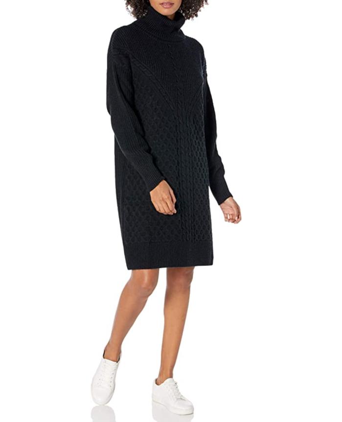 The Drop Women's Rosalie Cable Stitch Mini Sweater Dress