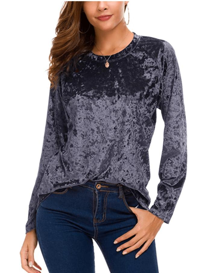 Urban CoCo Store - Camiseta de terciopelo vintage para mujer, camiseta informal de manga larga