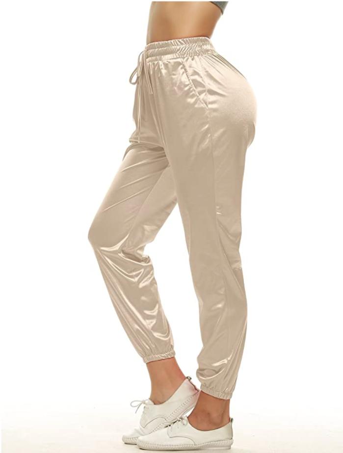 VWIWV Joggers de satén con cinturilla con cordón para mujer