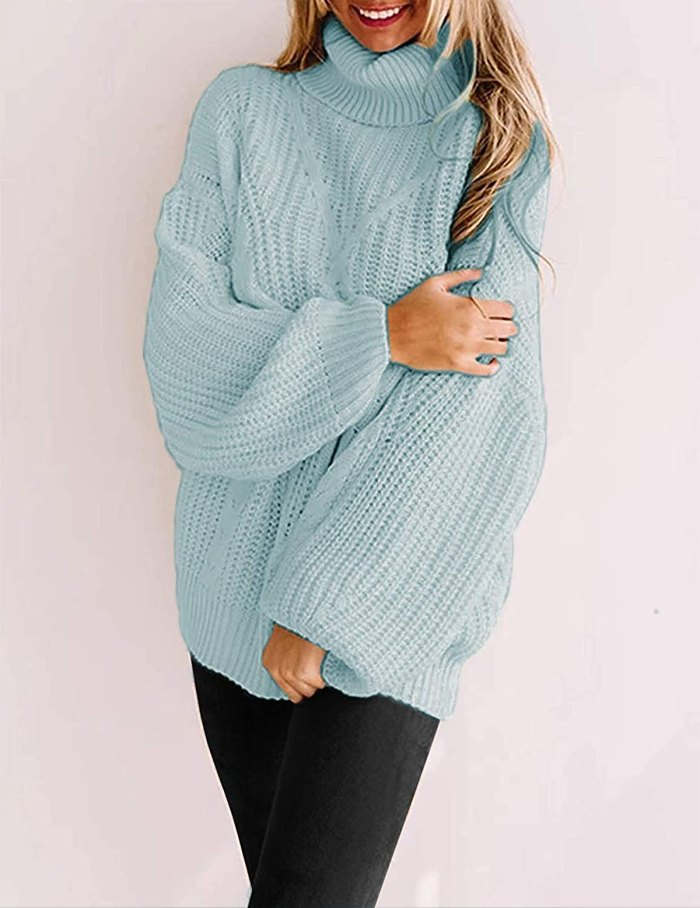 Suéter de gola alta Yuoioyu Chunky Cable Knit