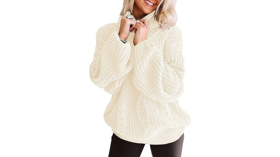 Yuoioyu Chunky Cable Knit Oversized Turtleneck Sweater