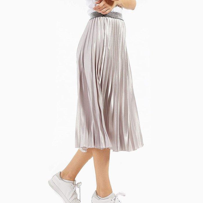 CHARTOU Falda larga de fiesta metálica plisada en acordeón