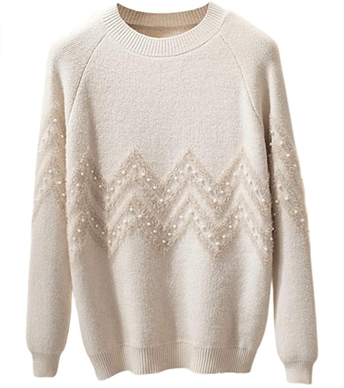 ebossy Women's Crewneck Raglan Sleeve Zig Zag Stripe Pearl Embellished Sweater