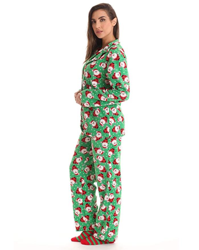 #followme Conjunto de pantalón de pijama de microfibra estampado con botones en la parte delantera y calcetines
