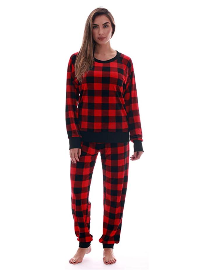 #followme Conjunto de pantalones de pijama para mujer Jogger PJs de terciopelo ultra suave
