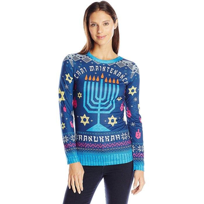 suéter-de-vacaciones-chai-mantenimiento-hanukkah